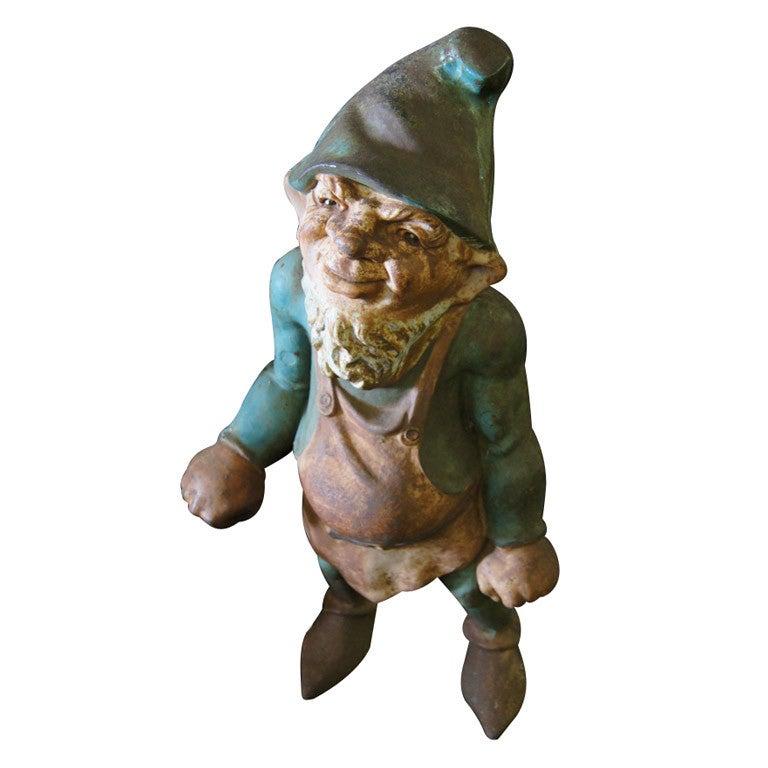 Vintage Large Cast Iron Garden Gnome At 1stdibs