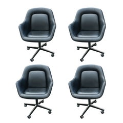 One Max Pearson For Knoll Black Leather Executive Chair