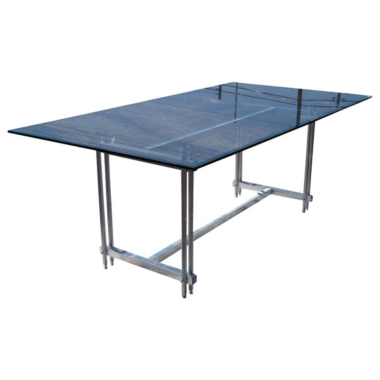 Industrial Modern Dining Room Table: Stainless Steel And Glass Industrial Dining Conference
