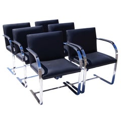 Six Gordon International Mies Van Der Rohe Style Flat Bar Brno Arm Chairs