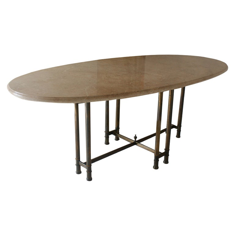 Mastercraft Bronze And Marble Oval Table