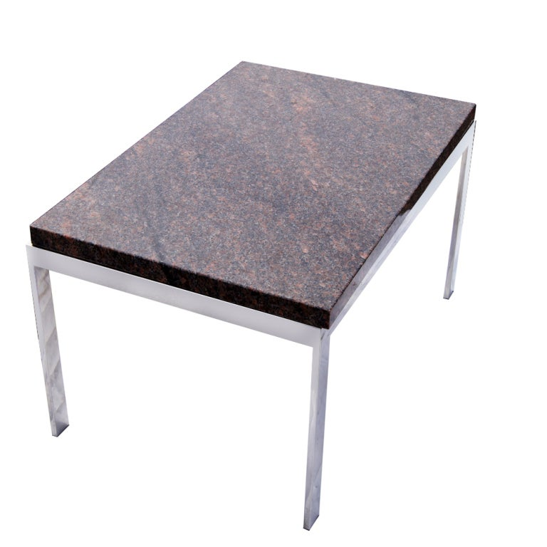 Rectangular Granite And Chrome Coffee Table For Sale At 1stdibs