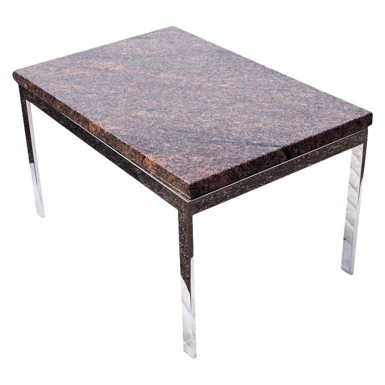 Coffee Table Bases For Marble Tops: Rectangular Granite And Chrome Coffee Table For Sale At