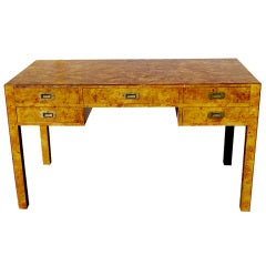 Burled Wood Writing Desk With Campaign Hardware