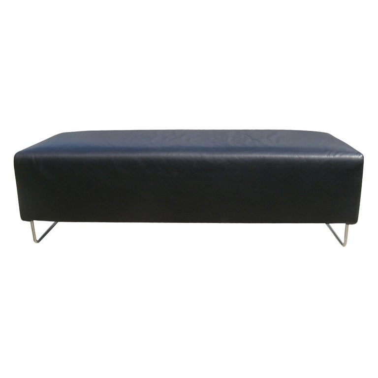 Cassina Black Leather And Chrome Bench At 1stdibs