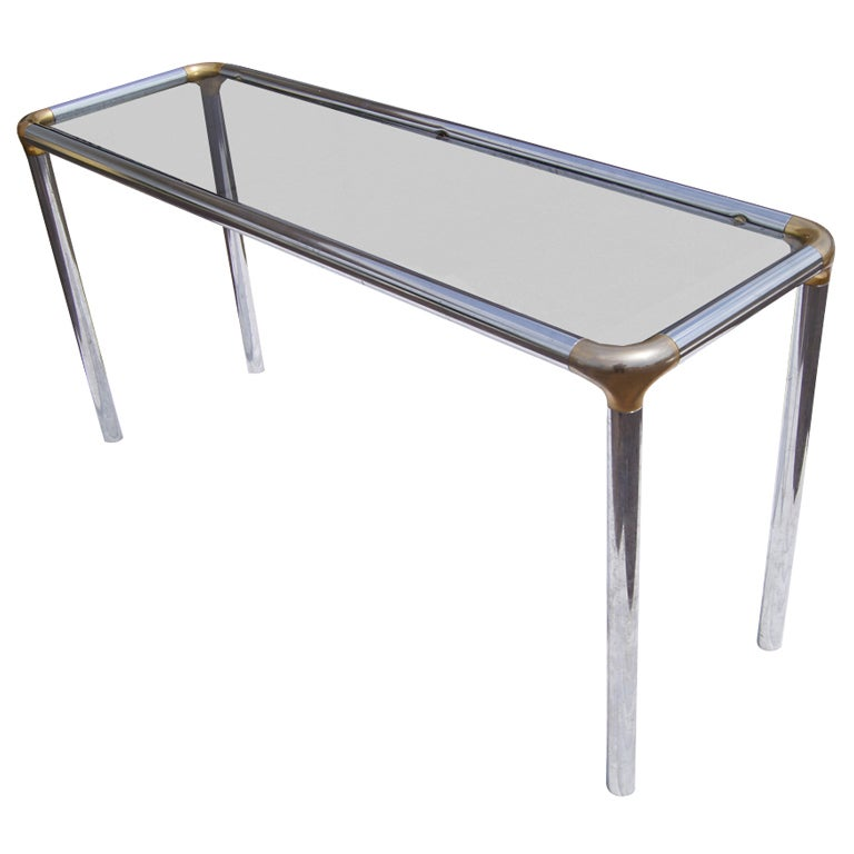 glass and chrome console table thin glass maison jansen style glass and chrome console table for sale at 1stdibs