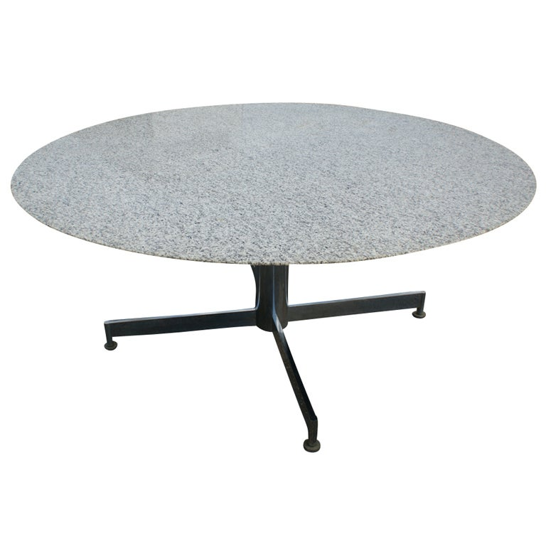 mid century stainless steel and granite dining table at 1stdibs