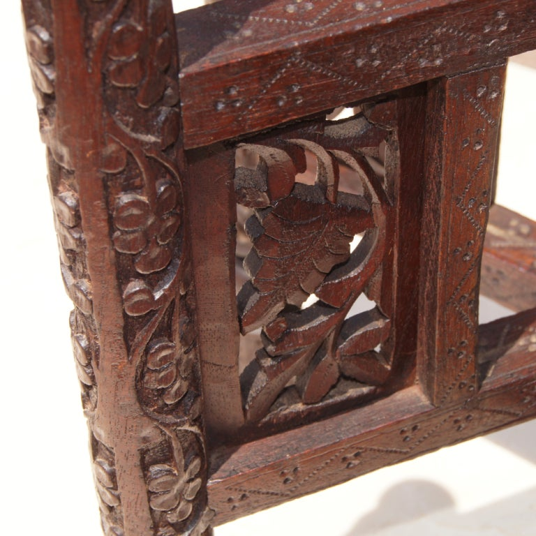 Traditional Styled Moroccan Wood And Brass Side Table 3