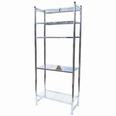 Chrome And Glass Modernist Etagere Shelf Unit