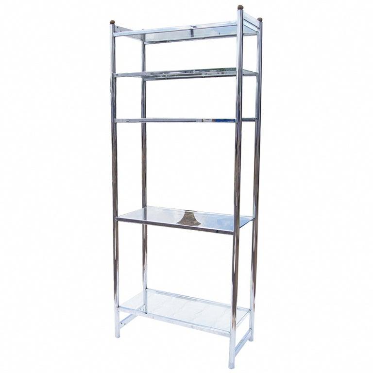 Chrome And Glass Modernist Etagere Shelf Unit For Sale