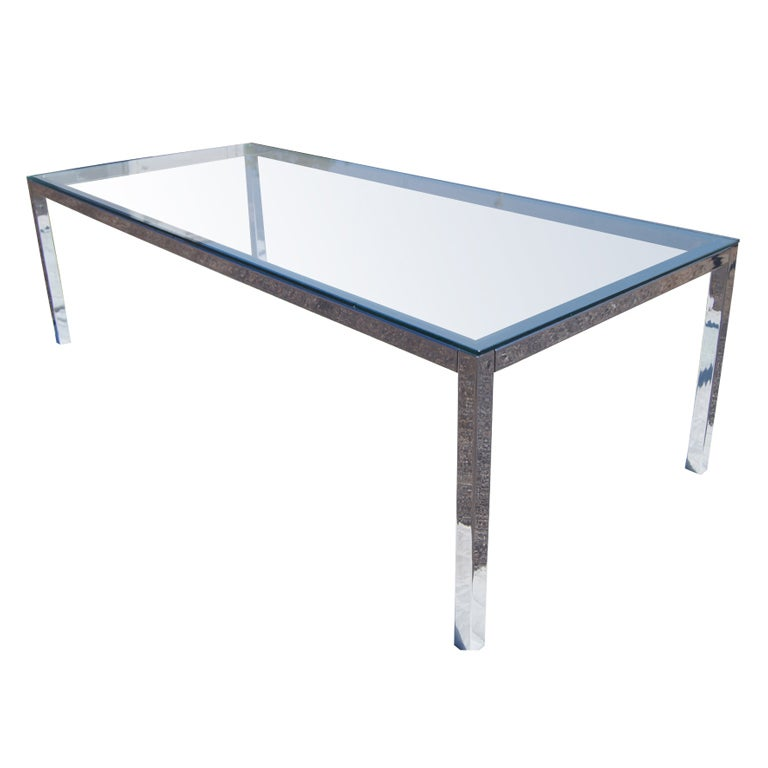 chrome and glass dining table at 1stdibs