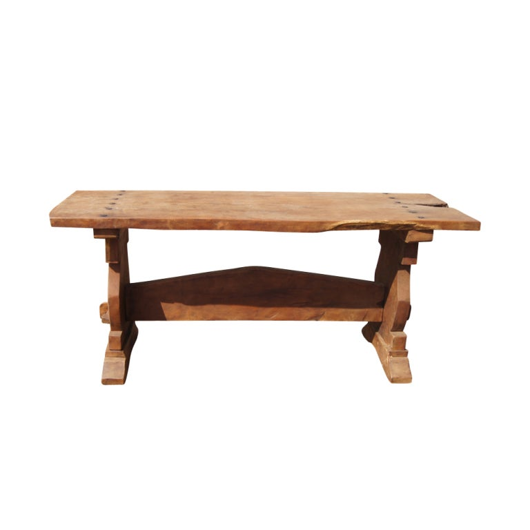 Rustic mesquite trestle console dining table at 1stdibs for Rustic trestle dining table