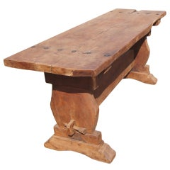 Rustic Mesquite Trestle Console Dining Table