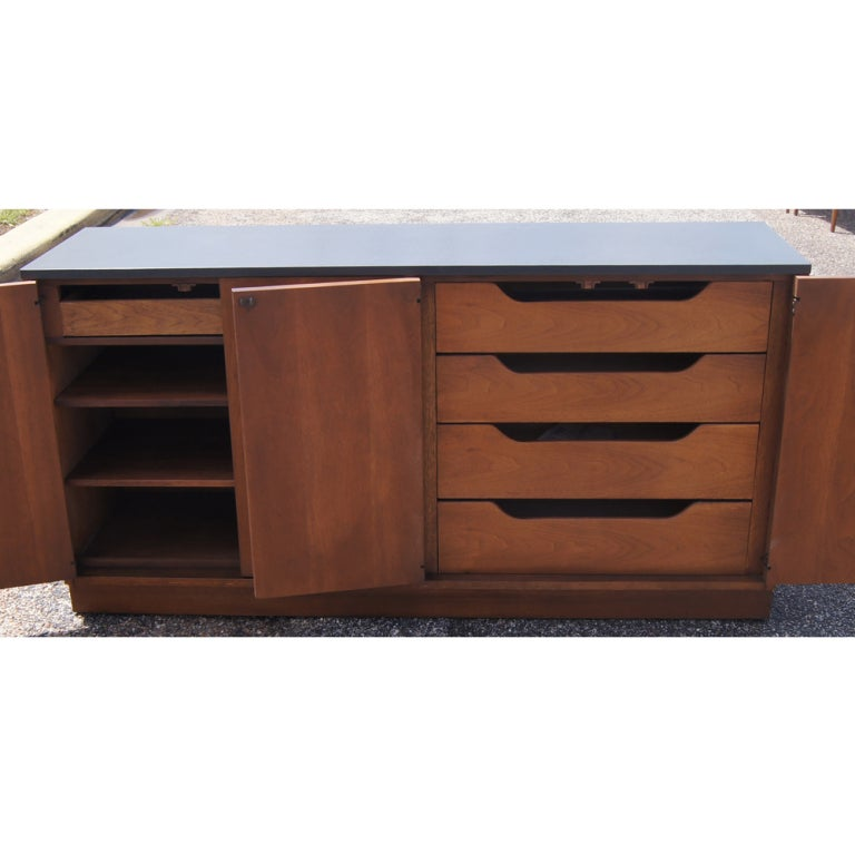 Broyhill Sculptra Walnut And Slate Buffet Chest 3