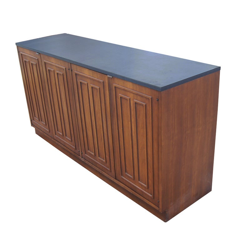 Broyhill Sculptra Walnut And Slate Buffet Chest 1