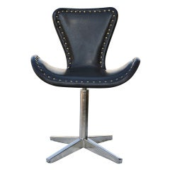 Leather And Chrome Swivel Chair