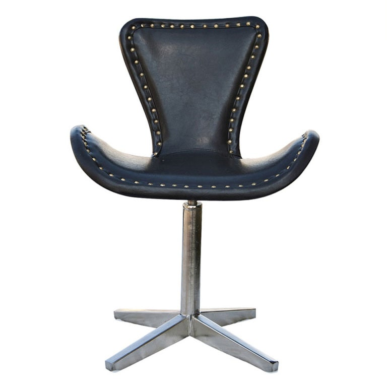 leather and chrome swivel chair for sale at 1stdibs