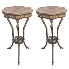 Pair of Empire Revival Hoof Foot Guéridon Tripode Tables