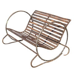 Wrought Iron Slatted Outdoor Bench