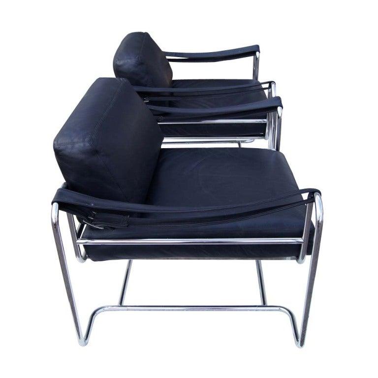 pair of vintage stendig kurt thut black leather lounge chairs for stendig for sale at 1stdibs. Black Bedroom Furniture Sets. Home Design Ideas