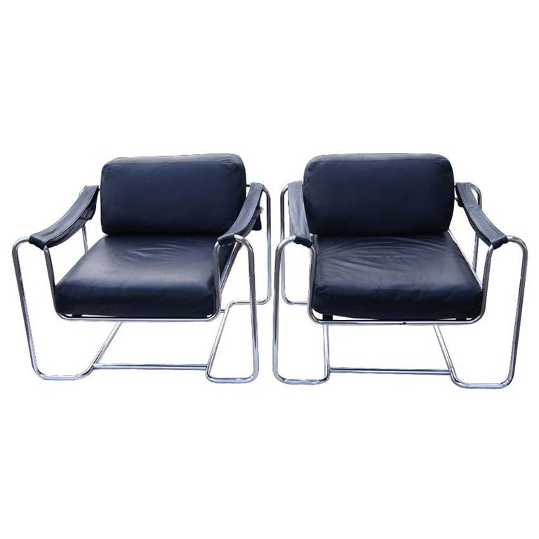Pair of Vintage Stendig Kurt Thut Black Leather Lounge Chairs for Stendig