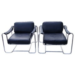 Pair of Vintage Stendig Kurt Thut Black Leather Lounge Chairs for Stendig