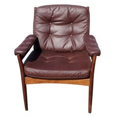 G-Möbel Scandinavian Walnut And Leather Lounge Chair