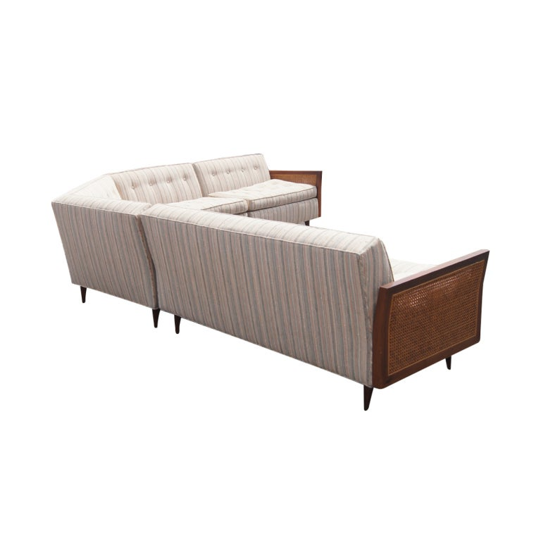Large L-Shaped Cane And Wood Sectional Sofa 2