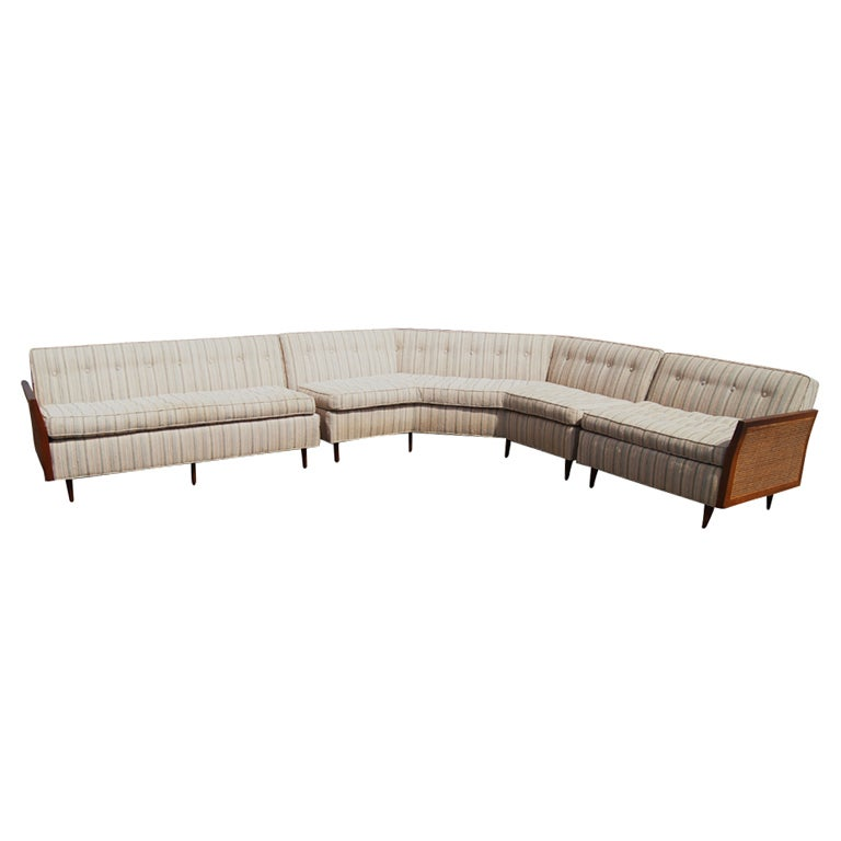 Large L Shaped Cane And Wood Sectional Sofa At 1stdibs