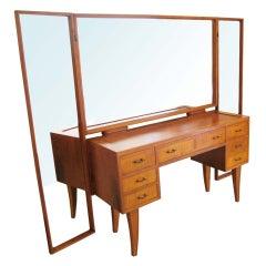 Hollywood Regency Vanity With Triple Mirror