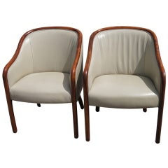 Pair Of Ward Bennett For Brickel Leather Arm Chairs
