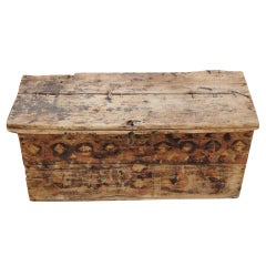 Rustic Moroccan Painted Chest Trunk