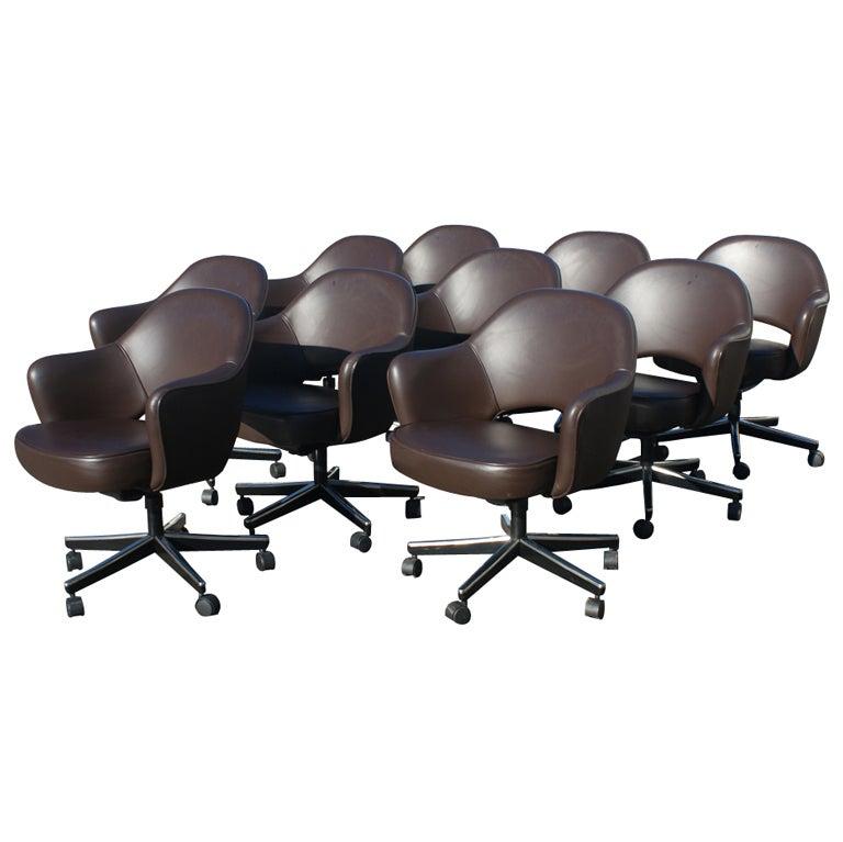 ten eero saarinen for knoll arm chairs at 1stdibs