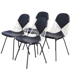 Four Eames For Herman Miller Bikini Pad Wire Chairs