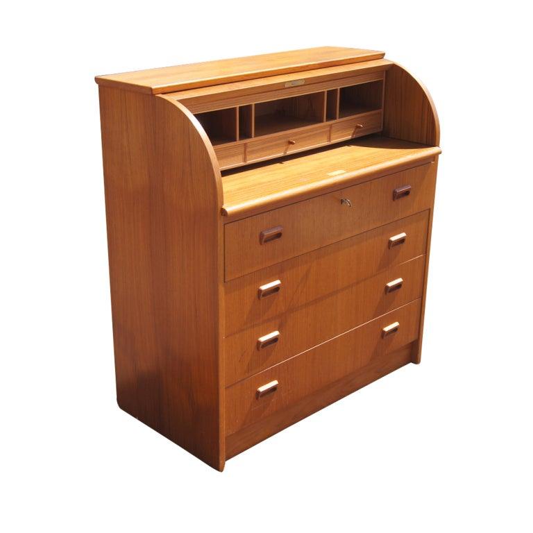 Vintage Scandinavian Teak Roll Top Secretary Desk 2