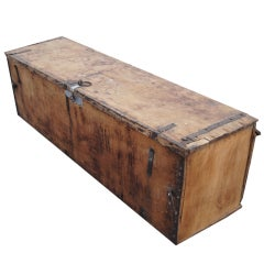 Rustic Long Wooden Moroccan Chest