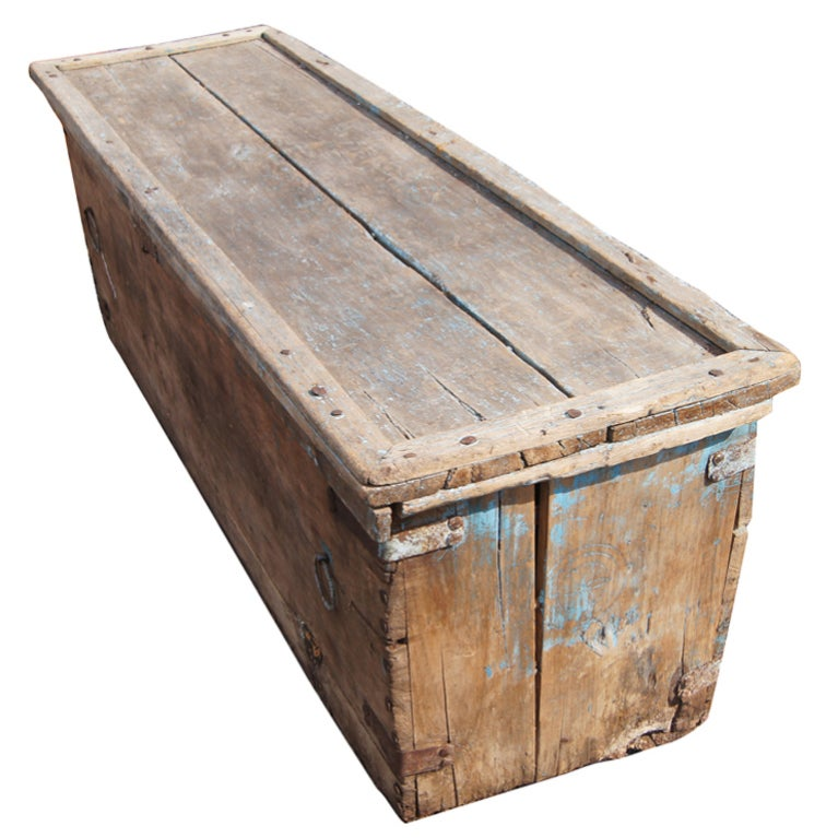 Long Rustic Wooden Moroccan Chest At 1stdibs