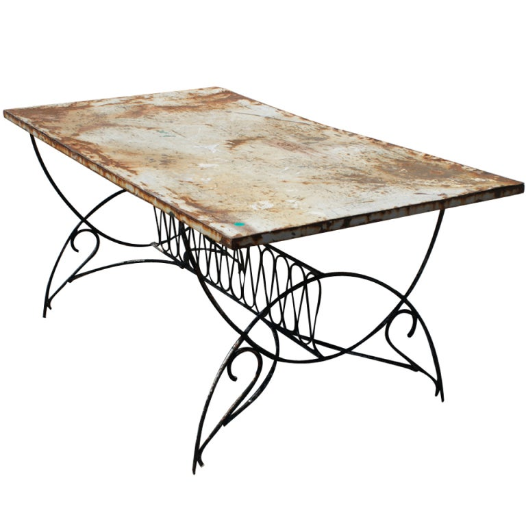 art deco metal outdoor patio dining table 1