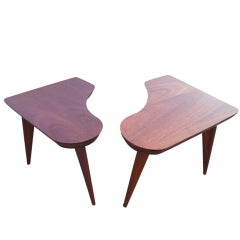 Pair Of Walnut Scandinavian Style Corner End Tables