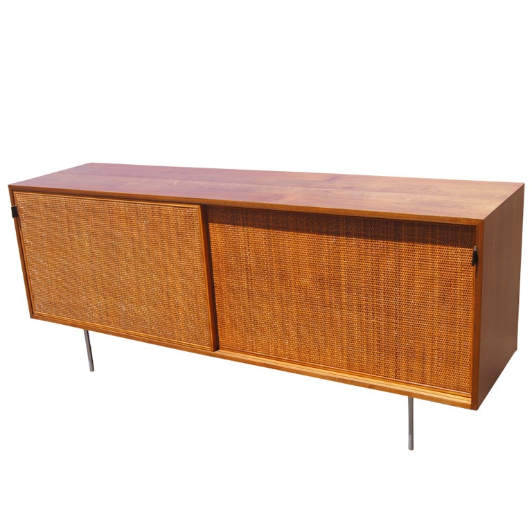 florence knoll for knoll walnut and cane credenza buffet. Black Bedroom Furniture Sets. Home Design Ideas