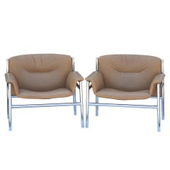 Pair of Tito Agnoli Leather Olympia Lounge Armchairs for Stendig