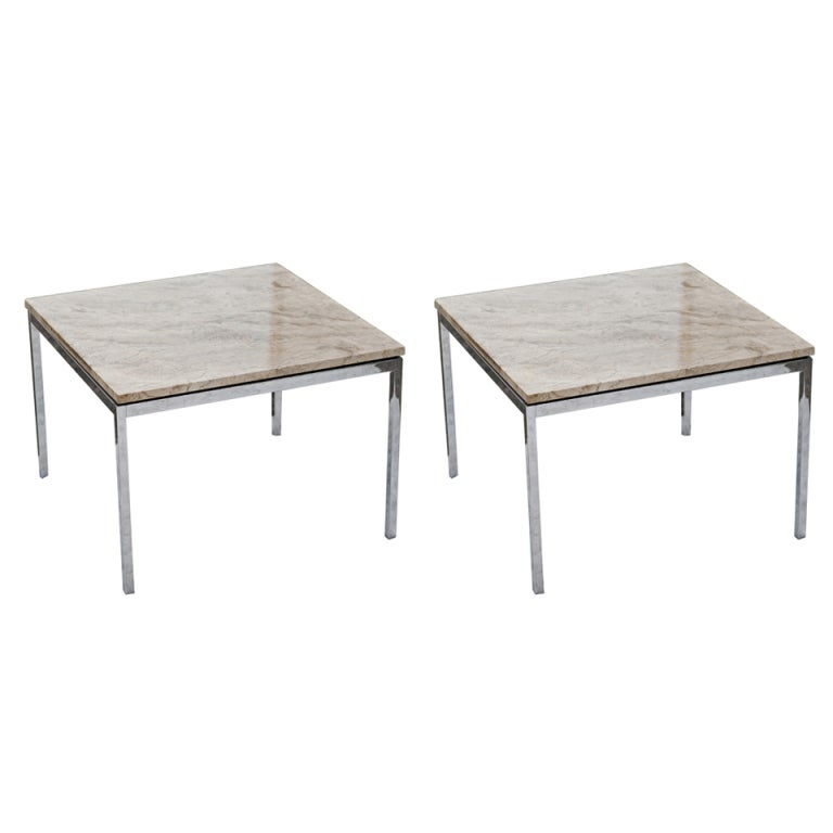 Pair Of Florence Knoll For Knoll Marble Side End Tables For Sale