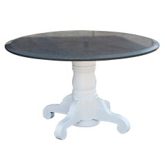 Round Granite And Wooden Dining Table