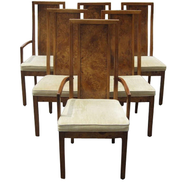Exceptional Thomasville Vintage Burled Wood Highback Set Of Six Dining Chairs For Sale