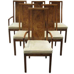 Thomasville Vintage Burled Wood Highback Set of Six Dining Chairs