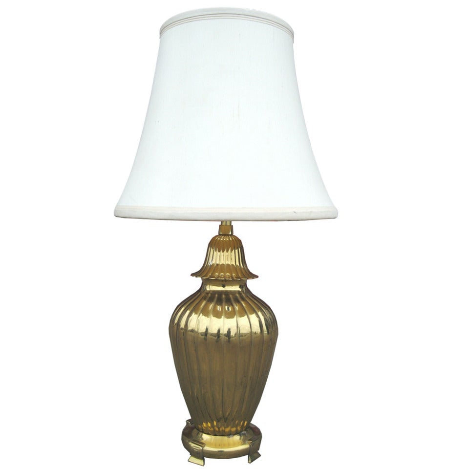 Marbro Ribbed Brass Lamp