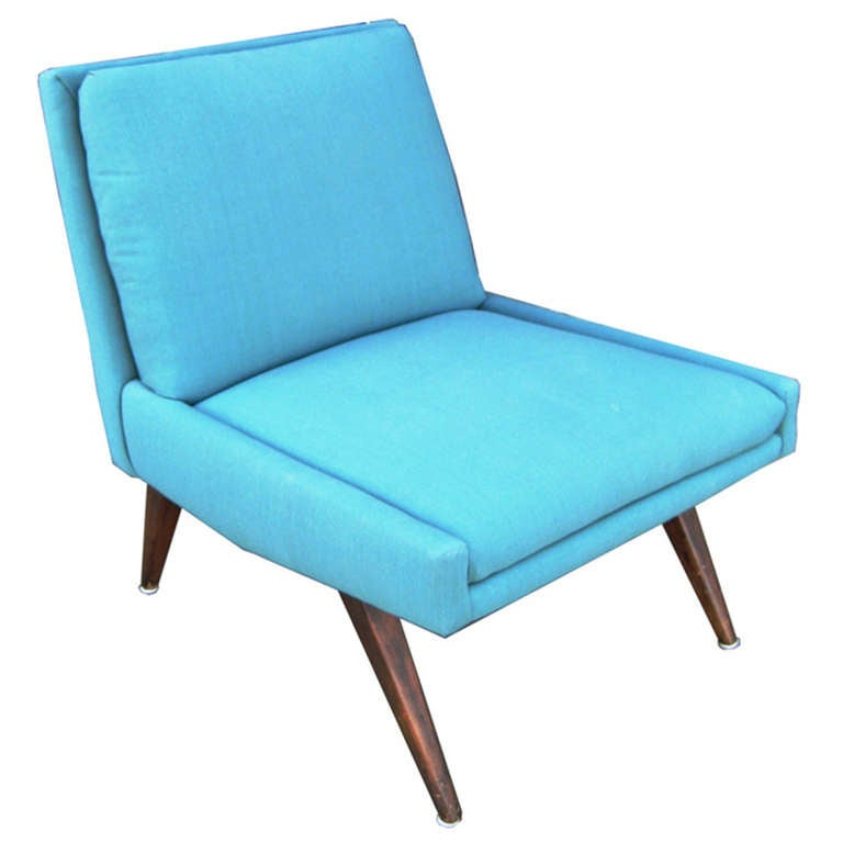 Sky Blue Slipper Lounge Chair in the Style of Milo Baughmann at 1stdibs