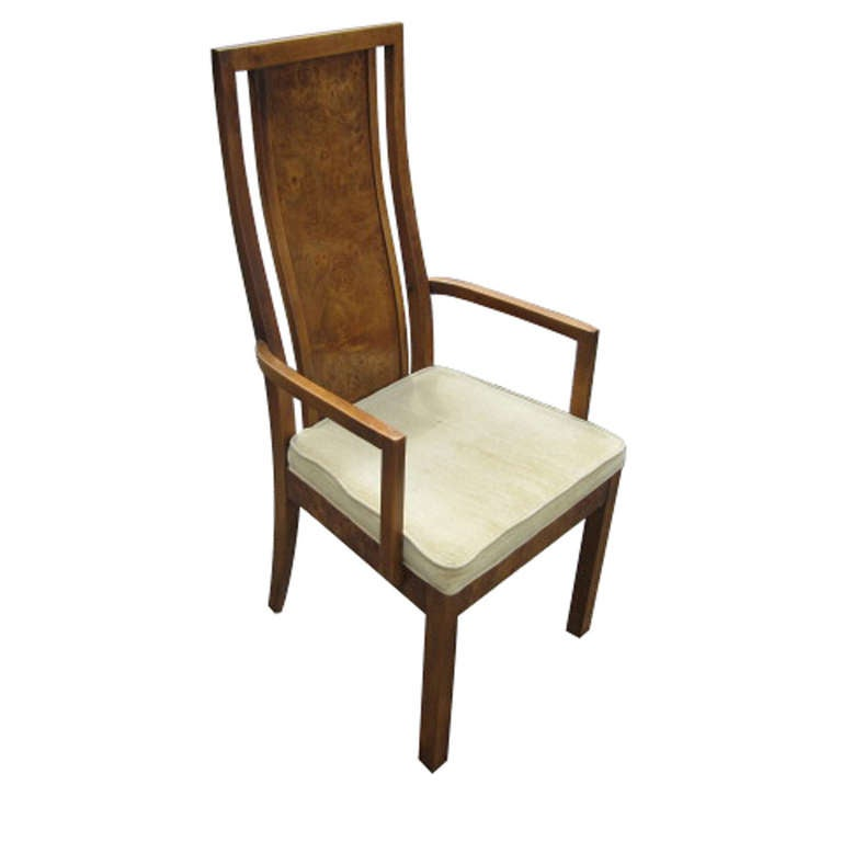 Thomasville vintage burled wood highback set of six dining chairs at 1stdibs - Retro dining room chairs ...