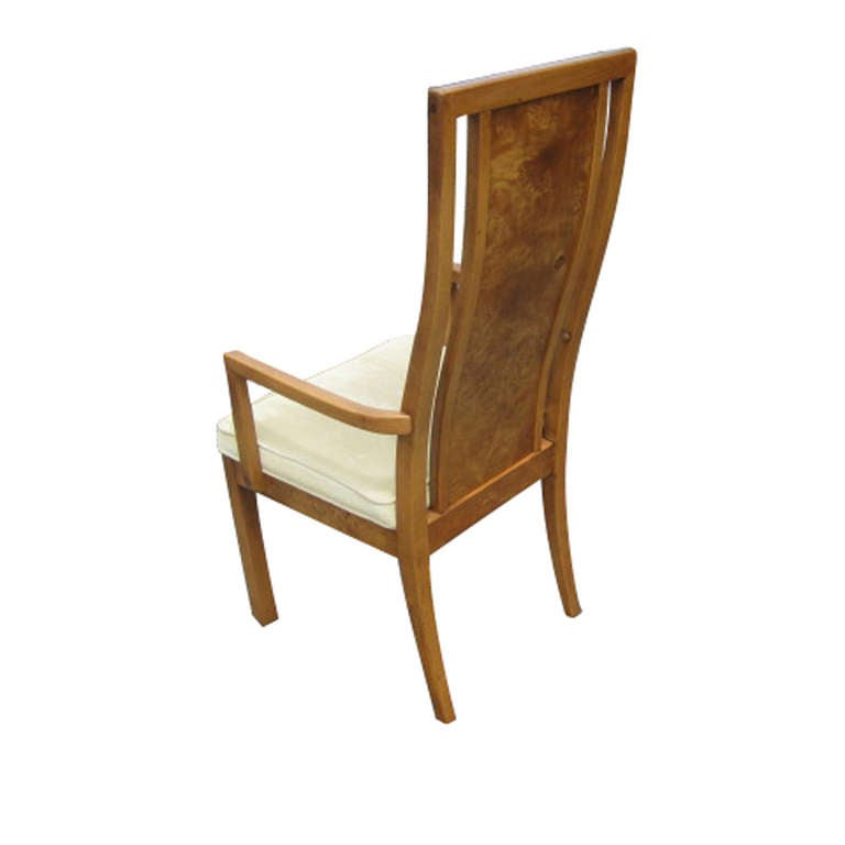 Thomasville Vintage Burled Wood Highback Set Of Six Dining Chairs 3