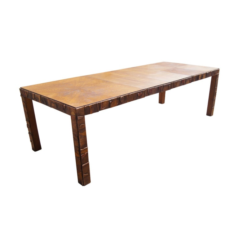 A mid century modern dining table and chairs in the Brutalist style made by Lane.  The dining table extends from 64.5